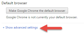 chrome show advanced settings